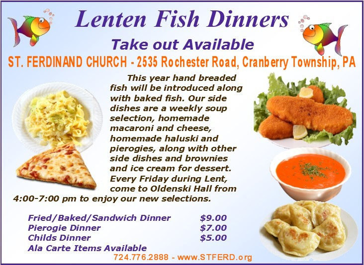 St ferdinand church fish fry fridays during lent for Fish fry menu