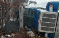 Truck Tips Over Near Power Plant